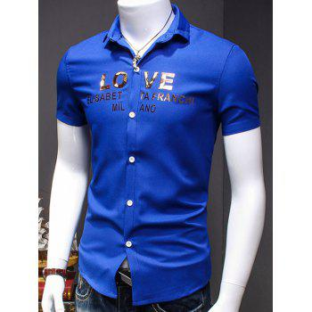 Men's Simple Turn-Down Collar Letter Printed Short Sleeves Shirt - BLUE L