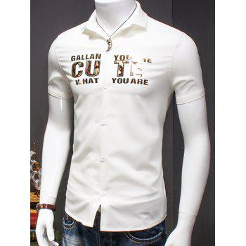Men's Turn-Down Collar Letter Printed Short Sleeves Shirt - WHITE L
