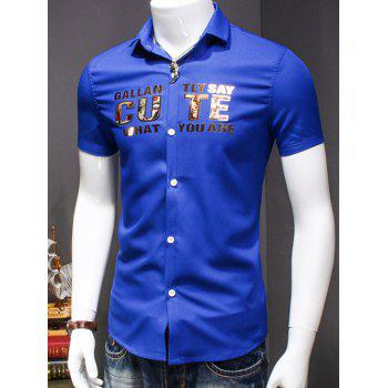 Men's Turn-Down Collar Letter Printed Short Sleeves Shirt - BLUE XL