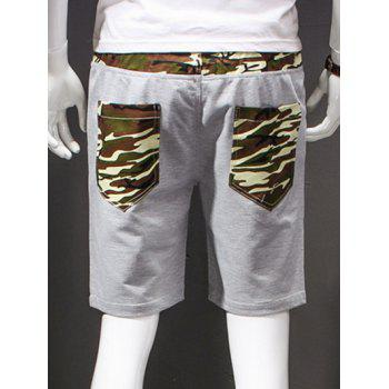 Men's Camouflage Style Lace-Up Slimming Elastic Shorts - ARMY GREEN XL
