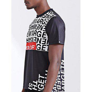 Stylish 3D Color Block Letters Print Round Neck Short Sleeve Men's T-Shirt - COLORMIX L