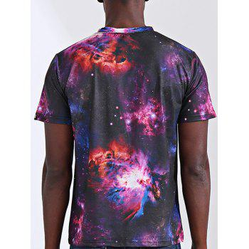 Stylish 3D Starry Sky Print Round Neck Short Sleeve Men's T-Shirt - COLORMIX S