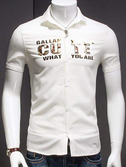Men's Turn-Down Collar Letter Printed Short Sleeves Shirt - WHITE XL