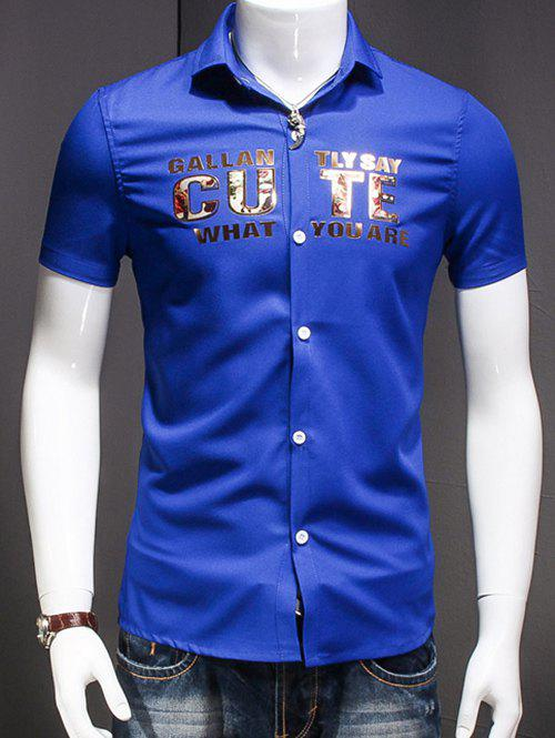 Men's Turn-Down Collar Letter Printed Short Sleeves Shirt - BLUE 2XL