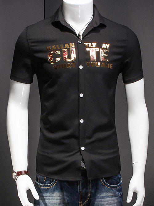 Men's Turn-Down Collar Letter Printed Short Sleeves Shirt - BLACK 3XL
