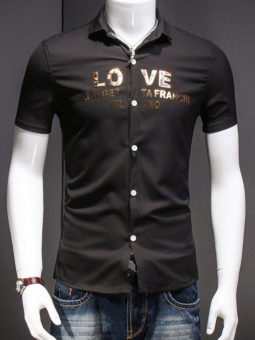 Men's Simple Turn-Down Collar Letter Printed Short Sleeves Shirt - BLACK M