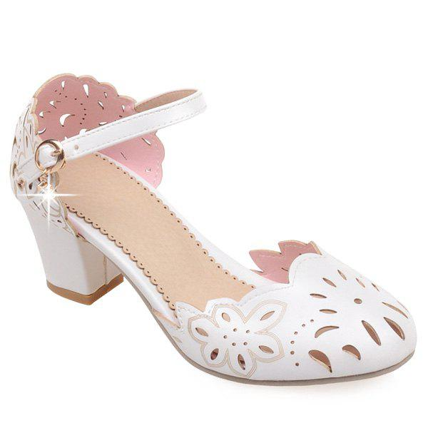 Casual Chunky Heel and Hollow Out Design Women's Pumps - WHITE 40