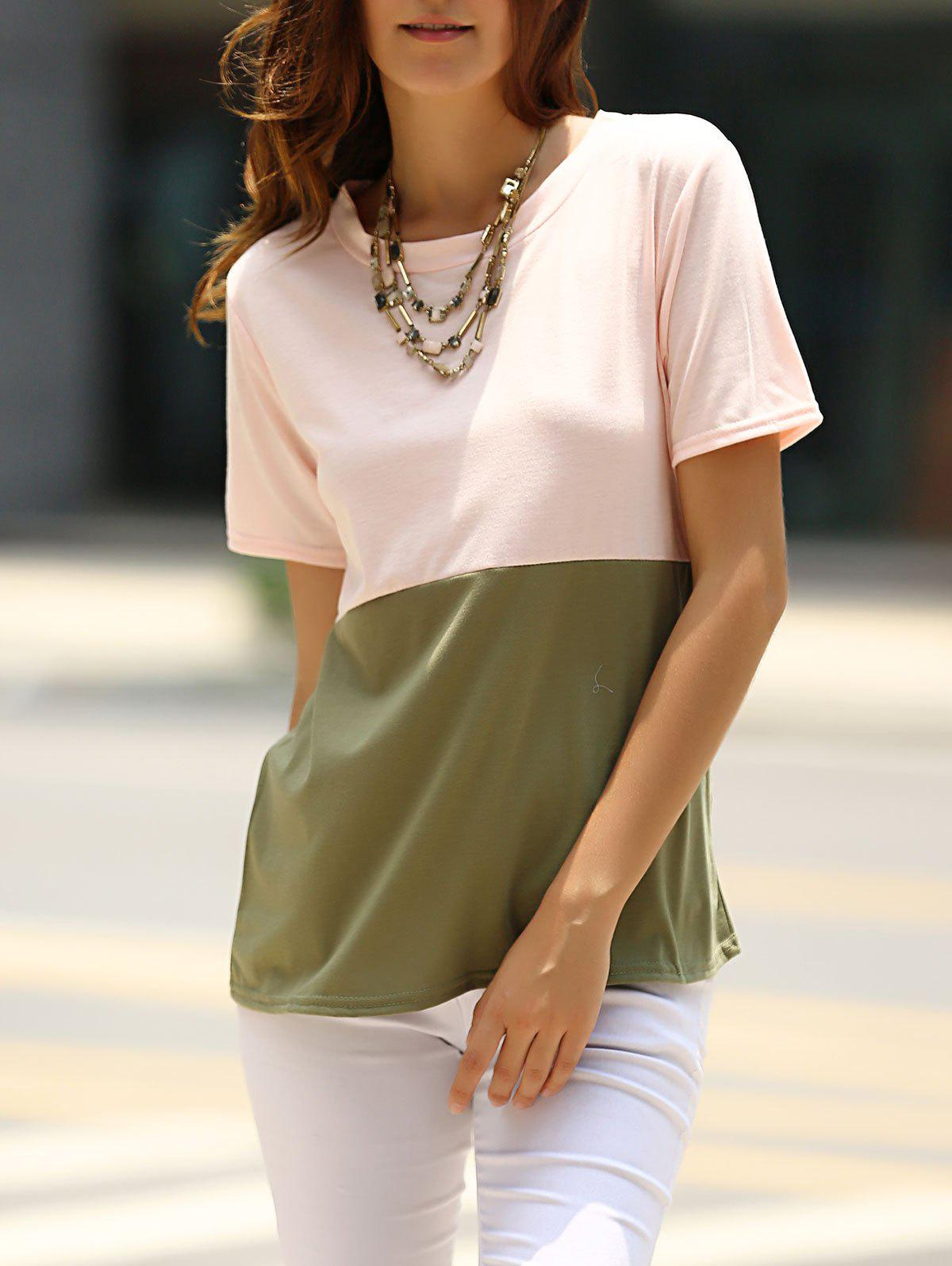 Brief Women's Round Neck Color Block T-Shirt - PINK M
