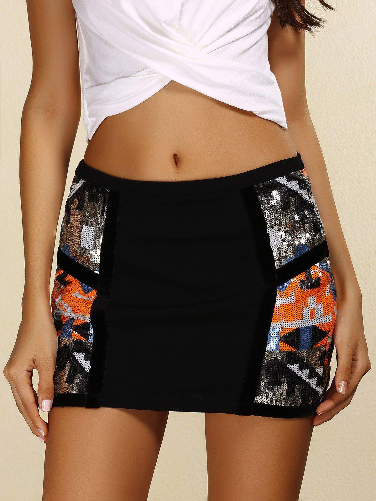 Trendy Zipper Design Sequins Embellished Skinny Women's Skirt - BLACK S