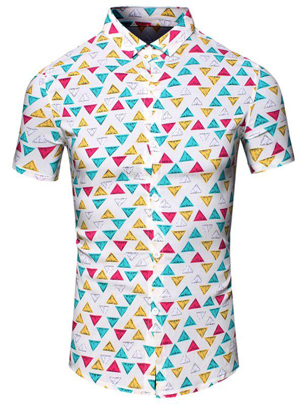 Color Block Geometric Printed Turn-Down Collar Short Sleeve Men's Shirt - COLORMIX M