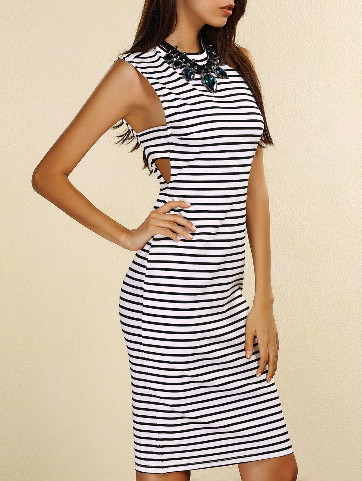 Fashionable Sleeveless Round Neck Cut Out Striped Women's Dress - STRIPE S
