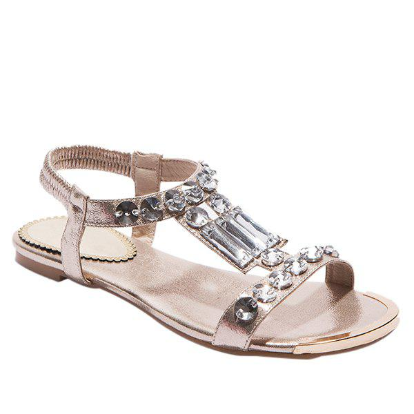 Sweet Metal Colour and Rhinestones Design Women's Sandals - GOLDEN 39
