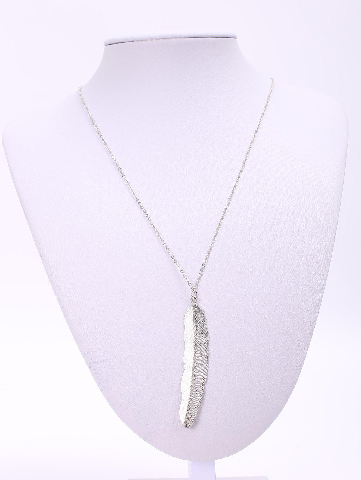 Alloy Feather Pendant Necklace - SILVER