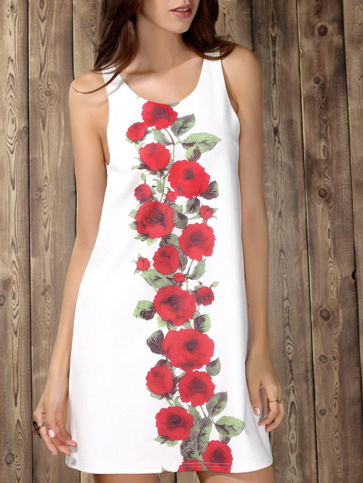 Chic Sleeveless Scoop Collar Floral Print Women's Dress - WHITE S