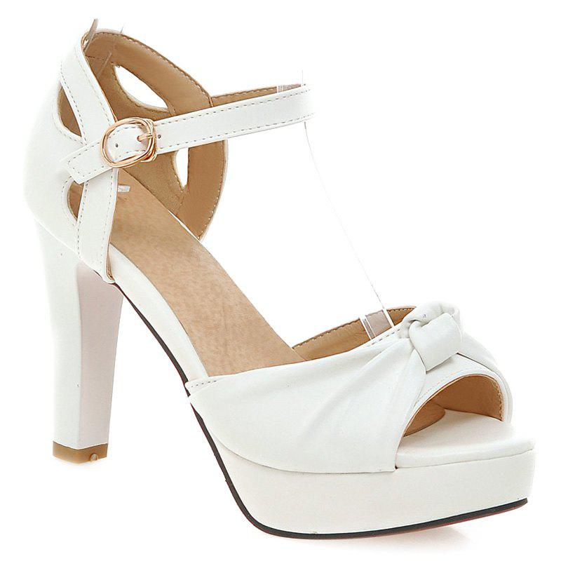 Ladylike Peep Toe and Chunky Heel Design Women's Sandals - WHITE 40