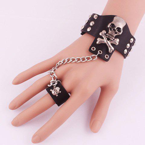 Gorgeous Skull Rivet Decorated Bracelet with Ring For Women - BLACK