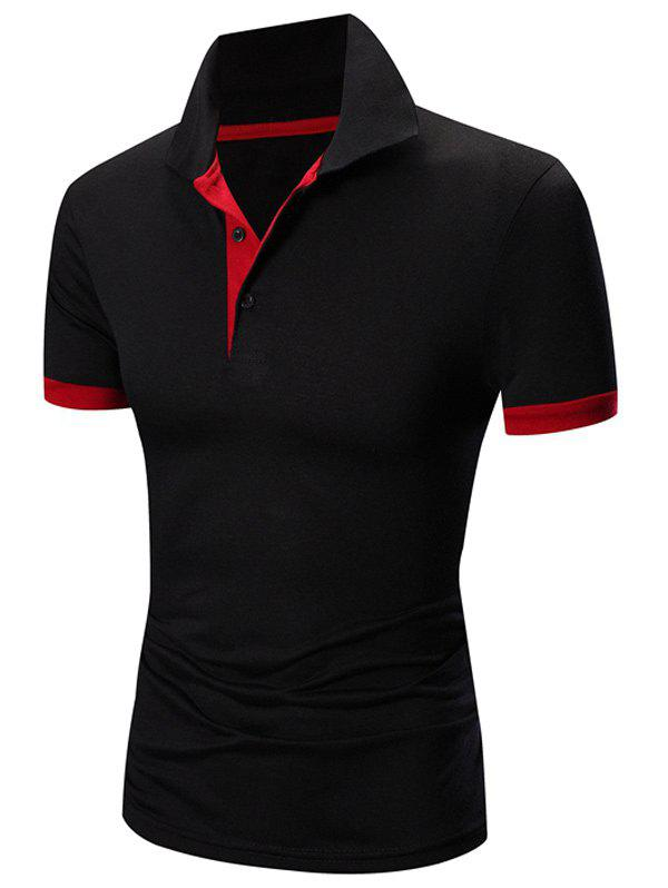 Laconic Collar Turn-down Color Block manches courtes Hommes  's Polo T-Shirt - Rouge et Noir XL