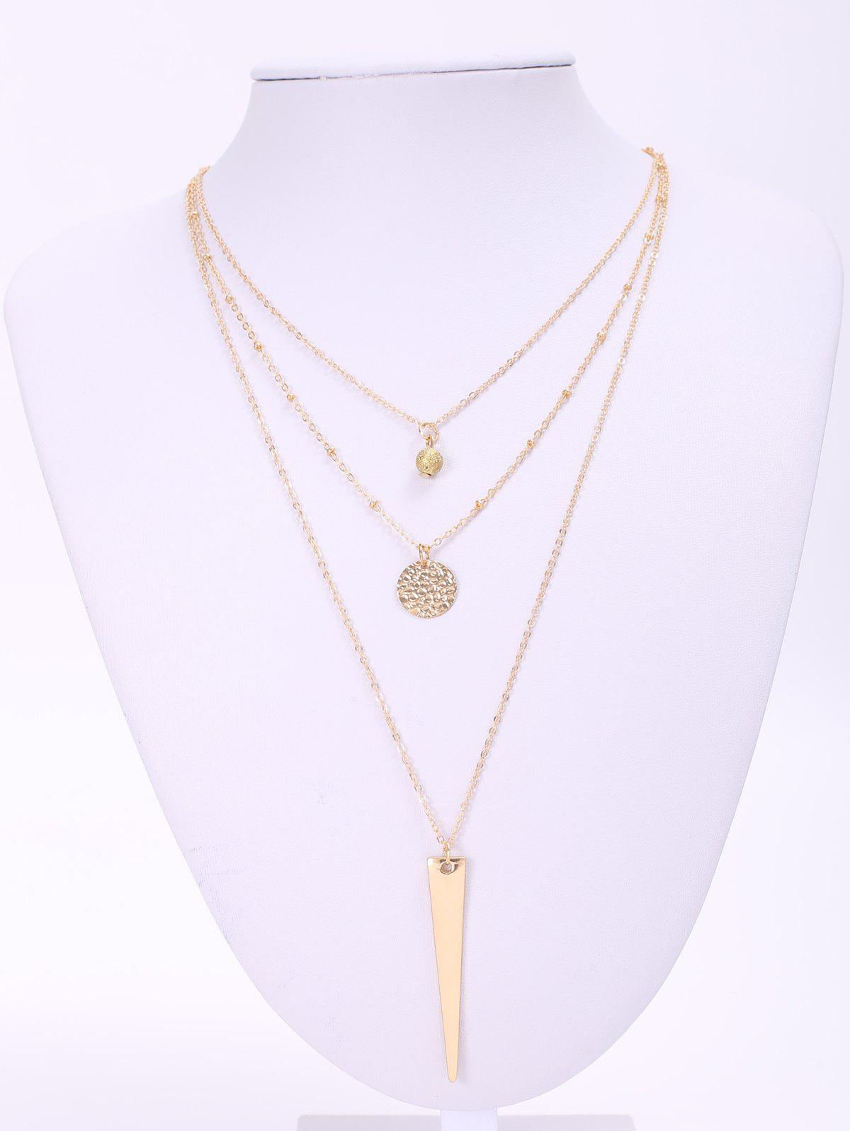 Stylish Matte Triangle Pendant Necklace For Women - GOLDEN