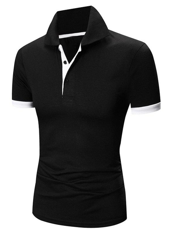 Laconic Turn-down Collar Color Block Short Sleeves Men's Polo T-Shirt - WHITE/BLACK L