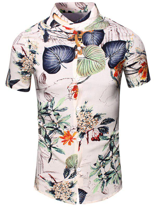 Flower and Leaf Printed Turn-Down Collar Short Sleeve Men's Shirt - WHITE L
