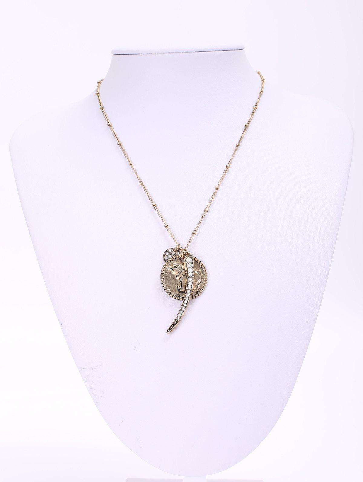 Chic Rhinestoned Elephant Pendant Necklace For Women