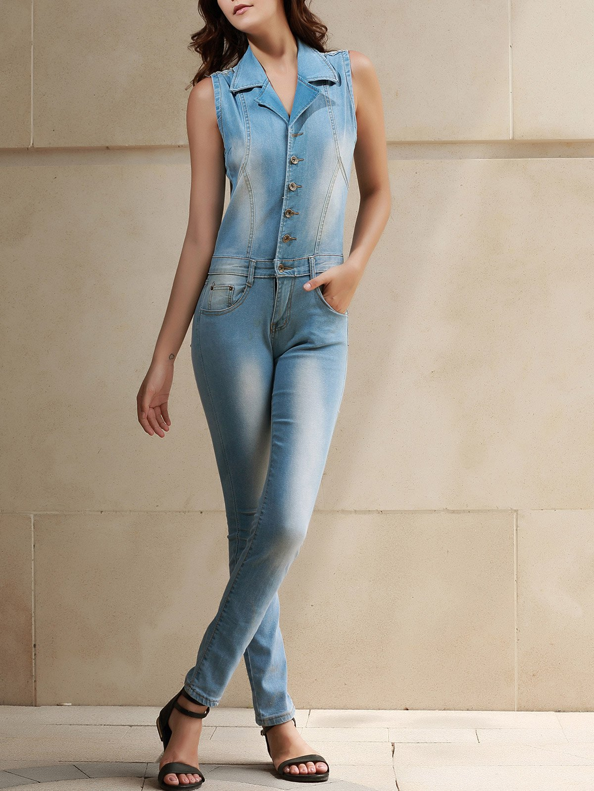 Stylish Womens Turn-Down Collar Sleeveless Bleach Wash Denim JumpsuitWomen<br><br><br>Size: S<br>Color: BLUE