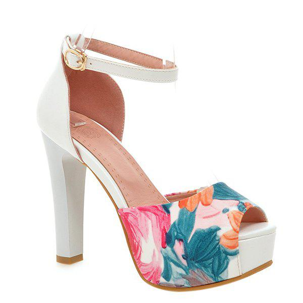 Trendy Ankle Strap and Floral Print Design Women's Sandals - BLUE 40