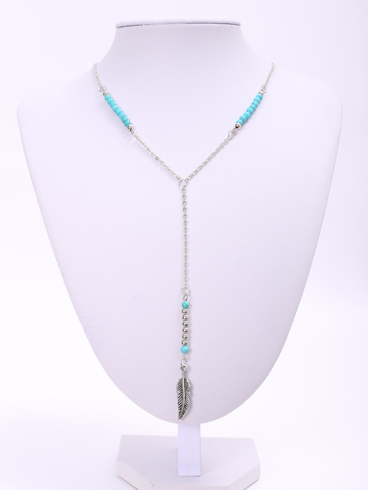 Trendy Beads Embellished Women's Necklace - SILVER