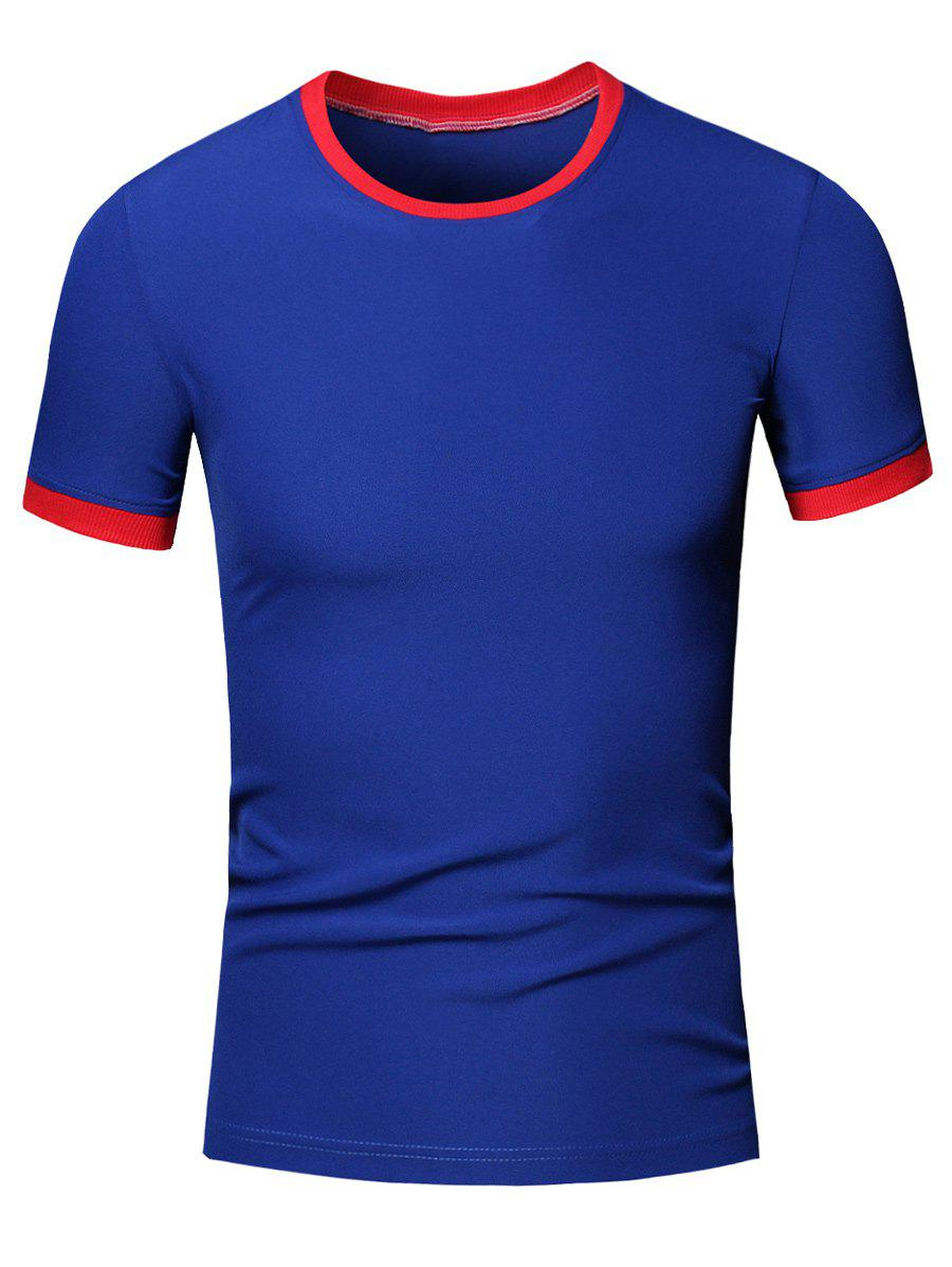 Simple Men's Round Neck Color Block Short Sleeve T-Shirt - SAPPHIRE BLUE L