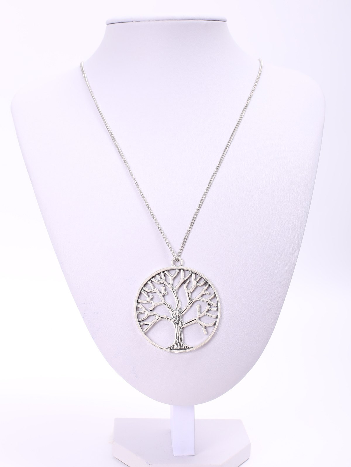 Trendy Solid Color Tree Shape Pendant Women's Sweater Chain Necklace 106680601