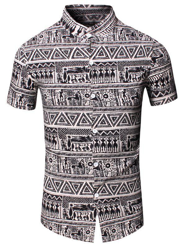 Totem Geometric Printed Turn-Down Collar Short Sleeve Men's Shirt - COFFEE M
