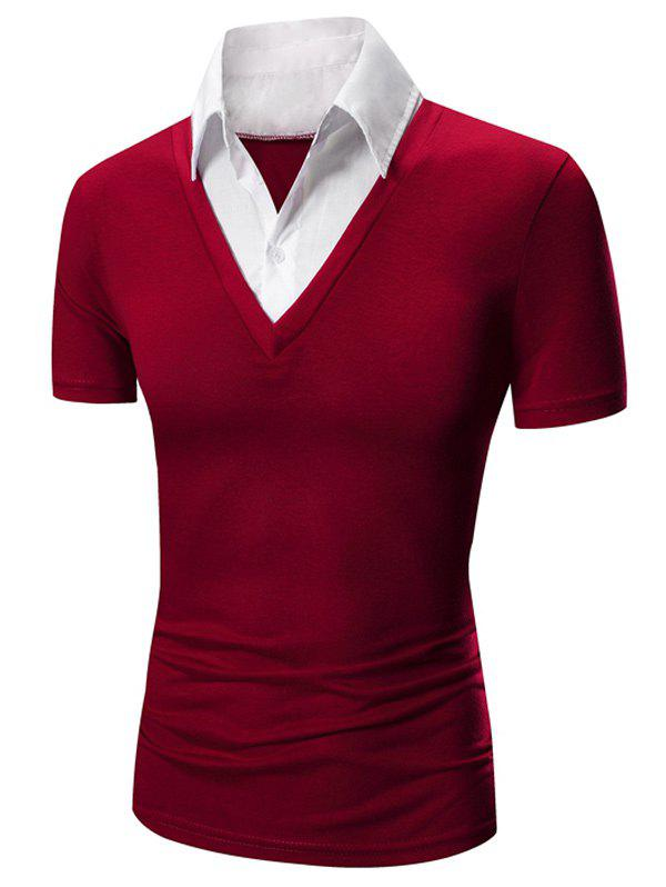 Faux Twinset Shirt Collar Color Block Short Sleeves Men's Polo T-Shirt - RED 2XL