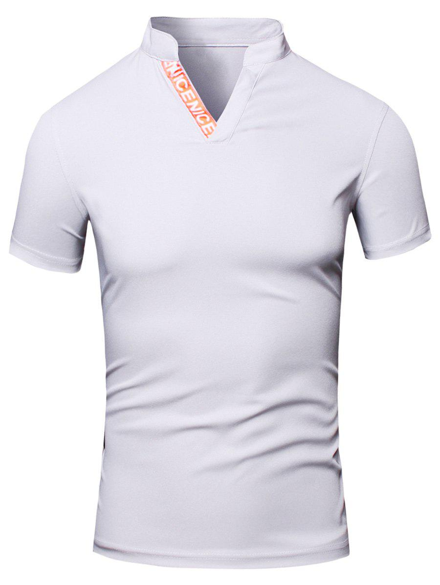Fashion Turn-Down Collar Letter Print Short Sleeve Men's Polo T-Shirt - WHITE L