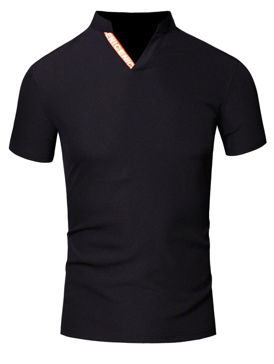 Fashion Turn-Down Collar Letter Print Short Sleeve Men's Polo T-Shirt - BLACK L