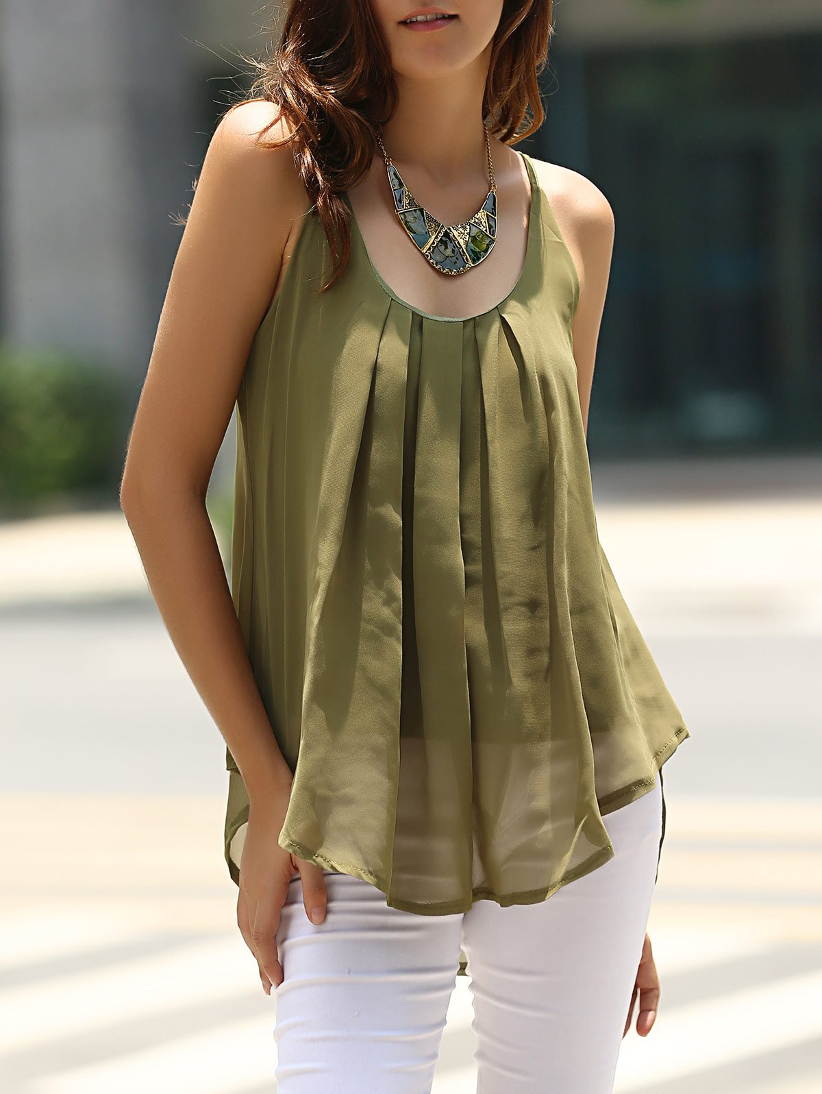 Charming Spaghetti Strap Solid Color Chiffon Women's Tank Top - ARMY GREEN XL