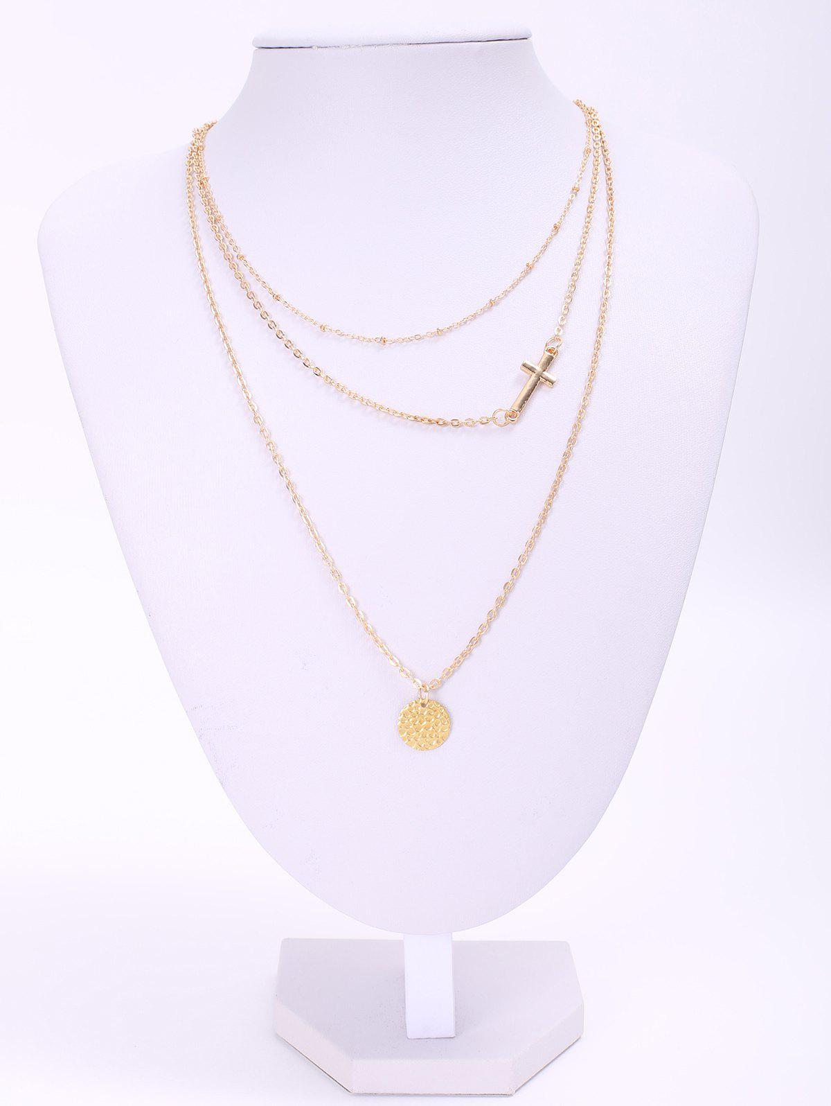 Dazzling Solid Color Sequins and Cross Embellished Multi-Layered Women's Necklace - AS THE PICTURE