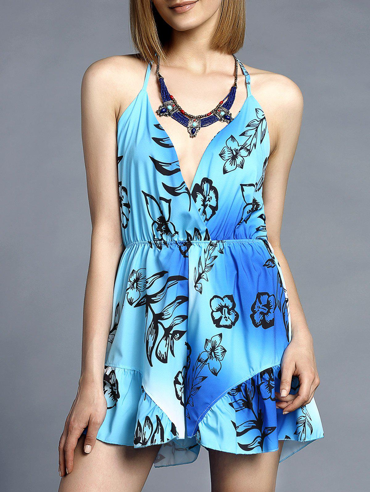 Sweet V-Neck Spaghetti Strap Floral Print Romper For Women - BLUE/GREEN S