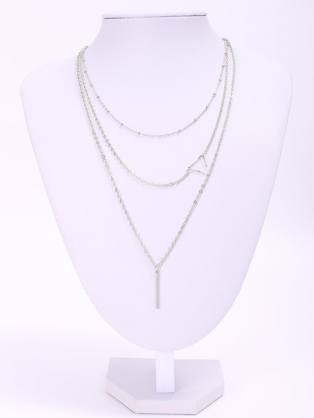 Stylish Chic Women's Openwork Triangle Design Necklace - SILVER