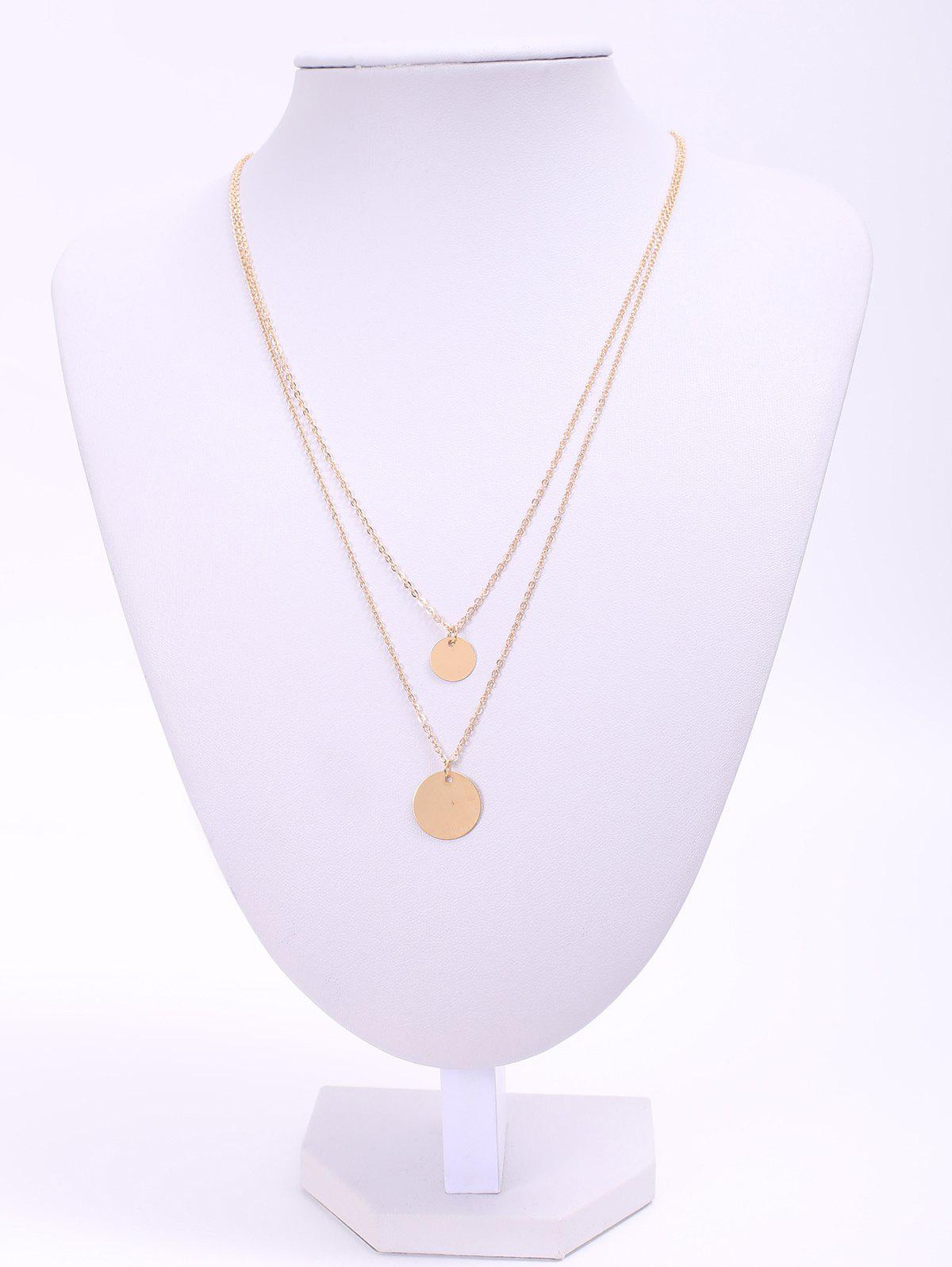 Sweet Chic Layered Round Sequins Design Necklace For Women - GOLDEN