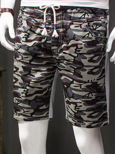 Men's Camouflage Style Lace-Up Slimming Elastic Shorts - L GRAY