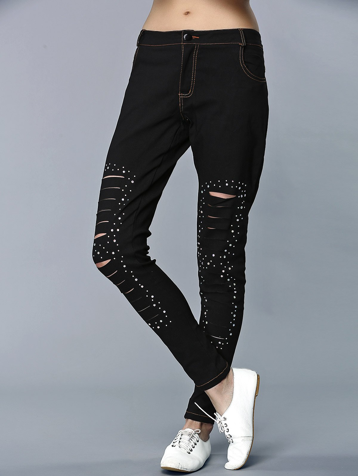 Chic Rhinestone Embellished Frayed Fitted Pants For Women