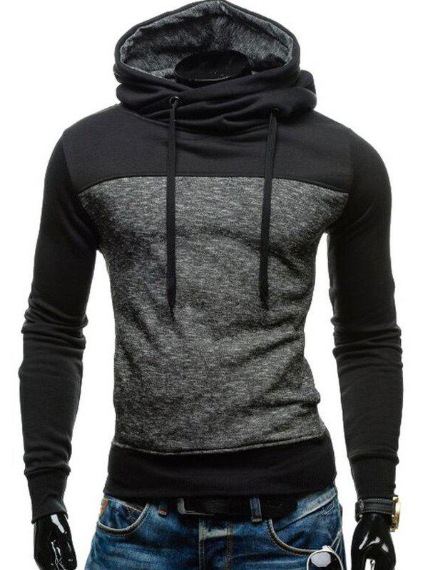 Sports Style Hooded Color Block Elbow Patch Long Sleeves Hoodie For Men - BLACK M
