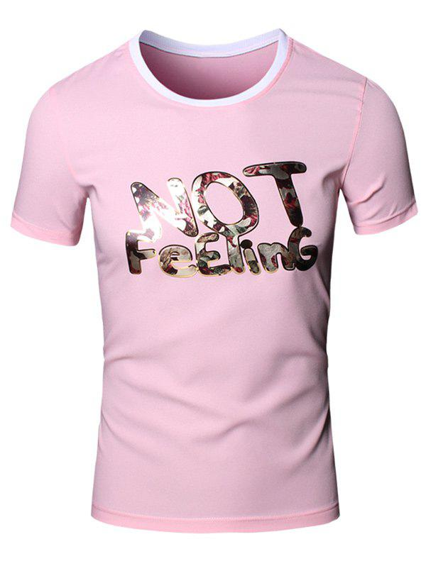 Slimming 3D Letters Printed Round Neck Short Sleeve Men's T-Shirt - PINK XL