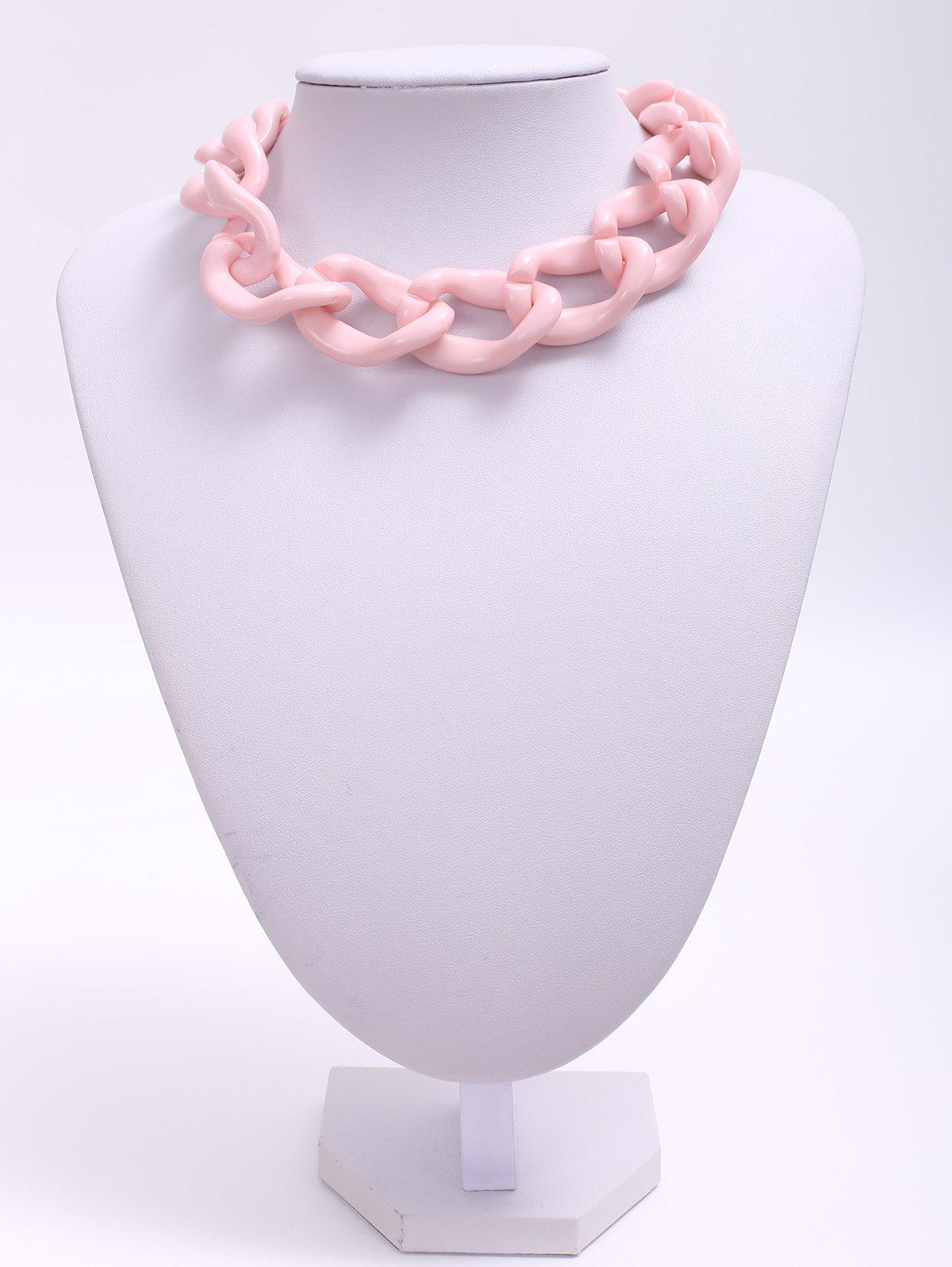 Acrylic Link Necklace - PINK