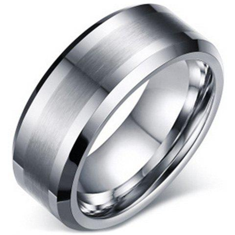 Trendy Beveled Edge Matte Tungsten Carbide Ring For Men - ONE-SIZE SILVER