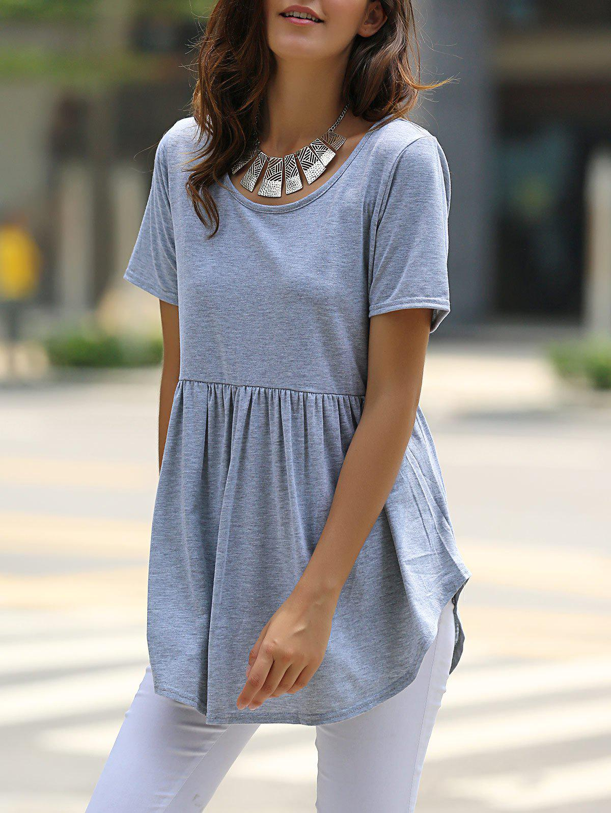 Stylish Solid Color Scoop Neck Short Sleeve Mini Dress For Women