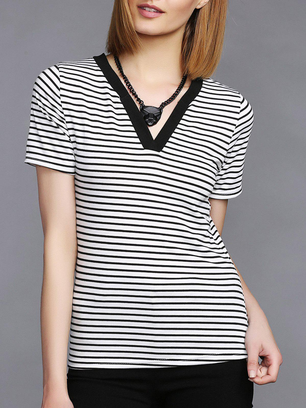 Basic Stripe V-Neck Short Sleeve T-Shirt For Women - BLACK M