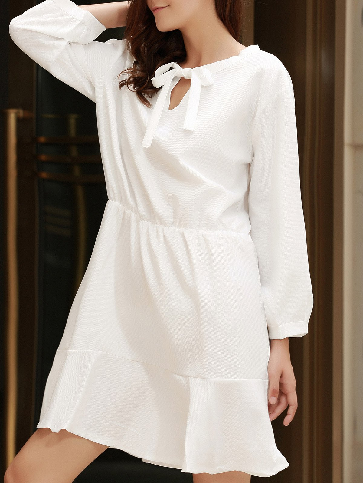 Stylish Bow Tie Collar 3/4 Sleeve Flounced Solid Color Women's Dress - OFF WHITE 4XL