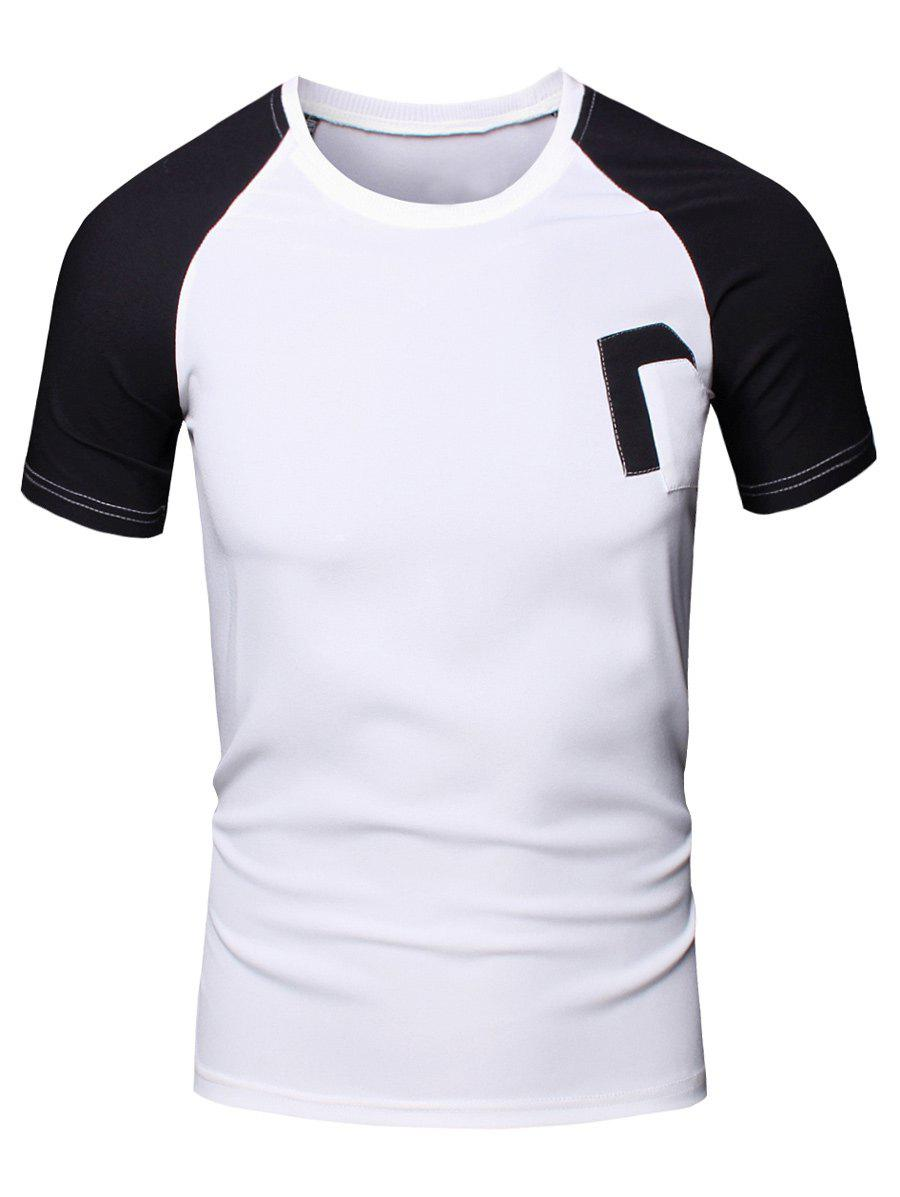 Sporty Round Neck Splicing Short Sleeve T-Shirt For Men - BLACK XL