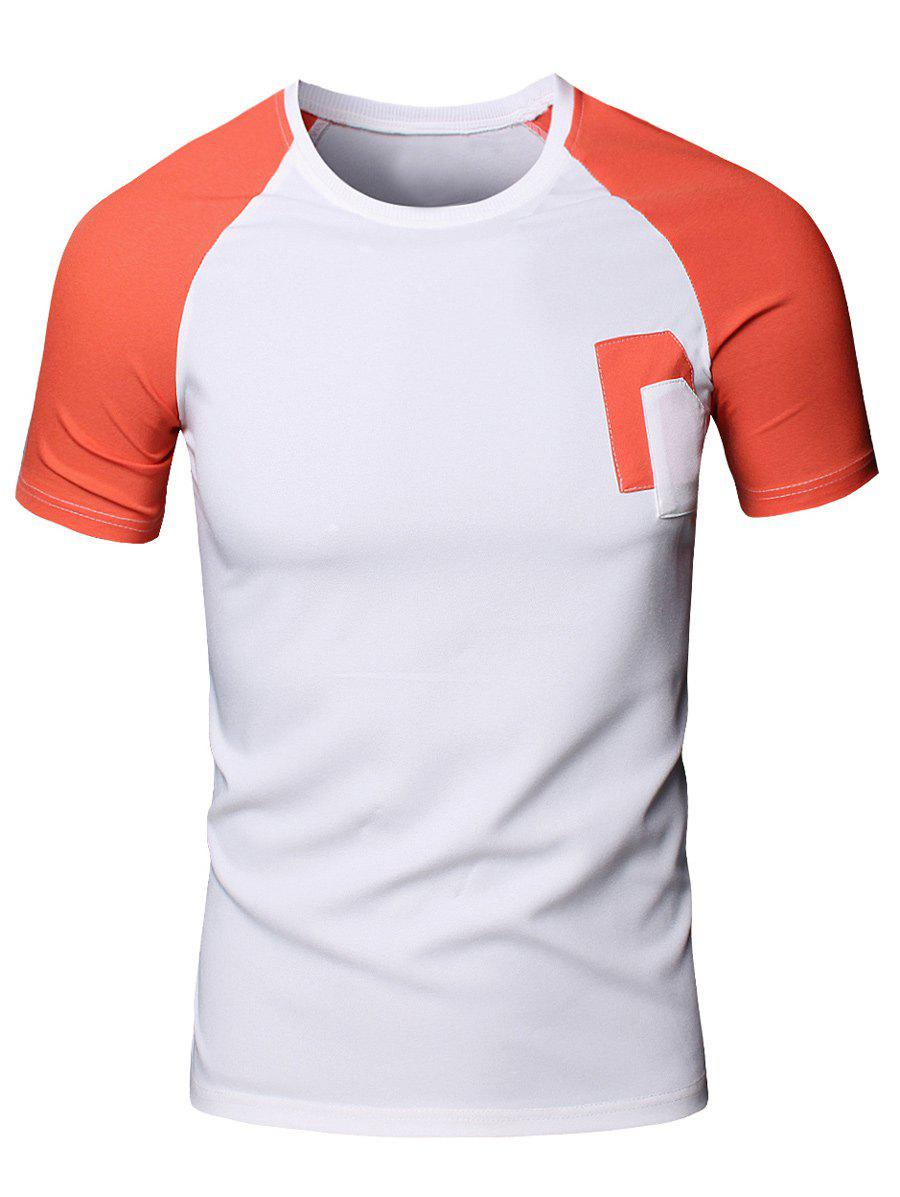 Sporty Round Neck Splicing Short Sleeve T-Shirt For Men - JACINTH L